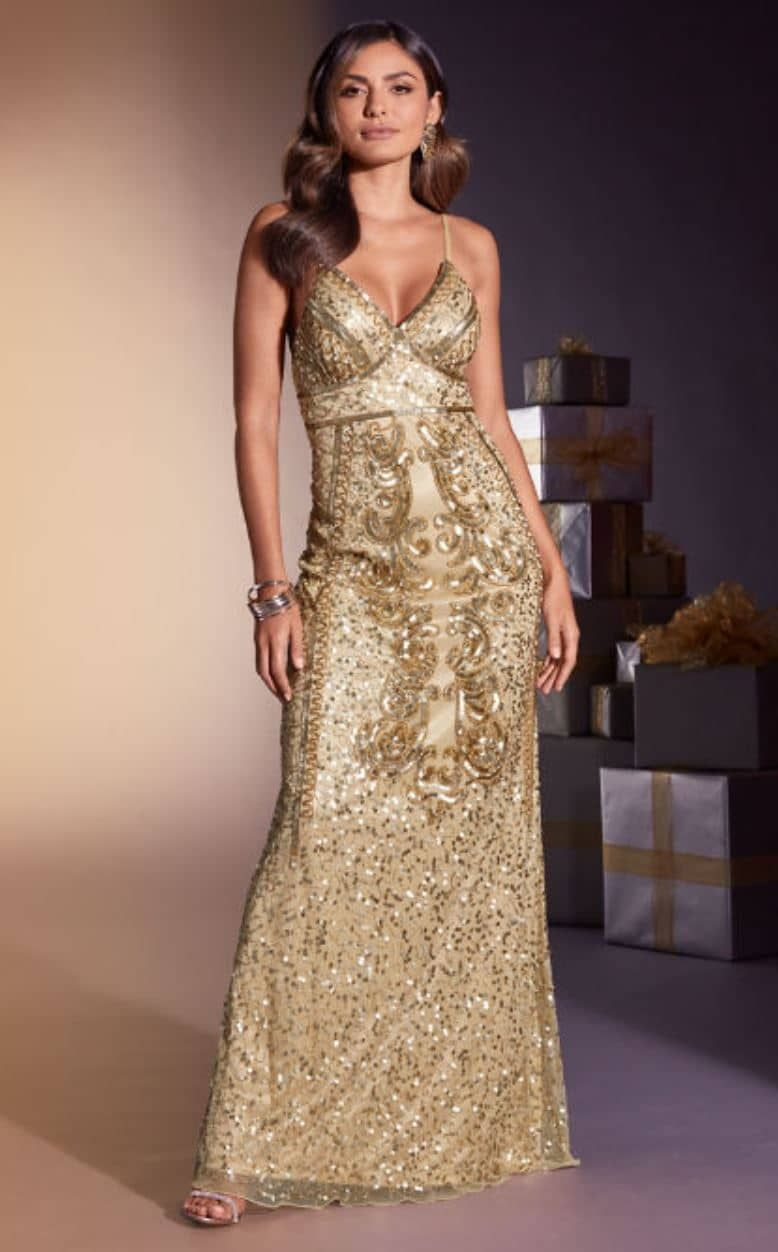 Gold Sequin Maxi Dress A Stunning Holiday Dress Idea Embellished Maxi Dress Sequin Maxi Dress Holiday Maxi Dress [ 1252 x 778 Pixel ]