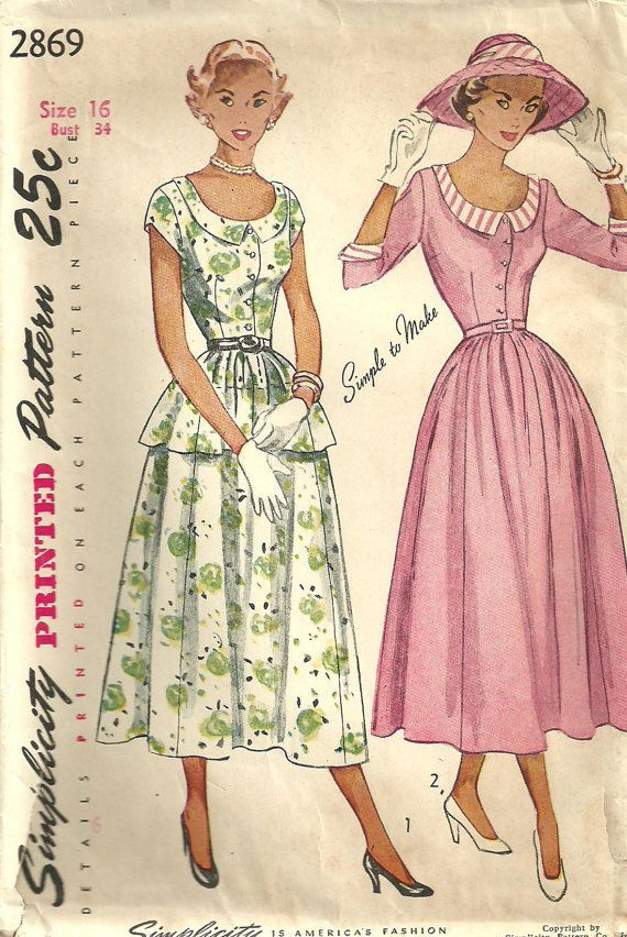 Simplicity 2869 Vintage 40s Sewing Pattern by studioGpatterns, $18.50
