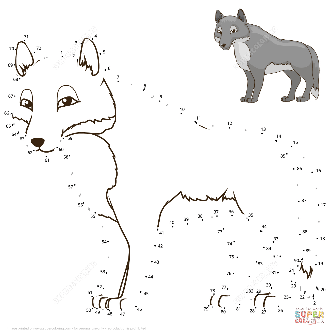 Wolf Dot To Dot Free Printable Coloring Pages Wolf Craft Free Printable Coloring Pages Dots Free