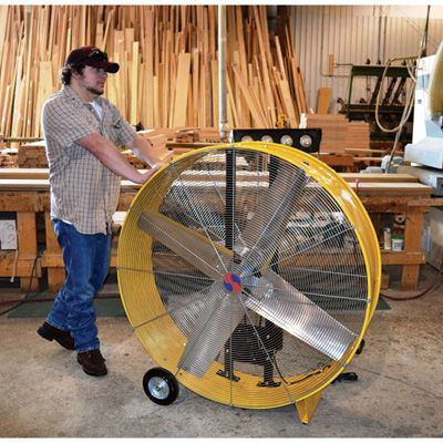 open motor belt-drive drum fan features a 4-blade design for even airflow   a belt driven fan runs quieter and creates a lower load, prolonging the  life of