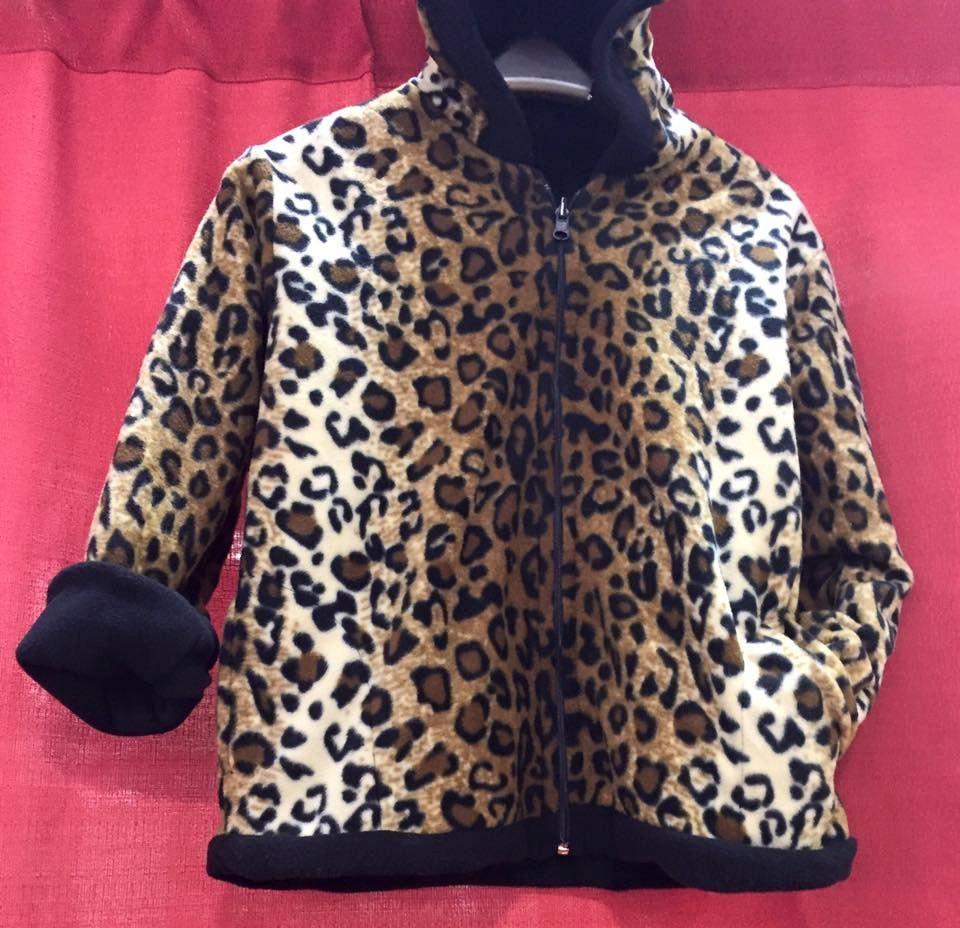 6562d0f21900 Plush Comfortable Leopard Polar Reversible Heavyweight Fleece Jacket ...