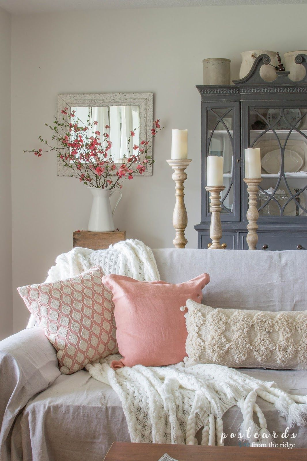 Blush And Bashful Spring Accents In The Living Room Diy Home
