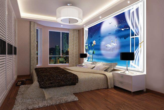 papier peint 3d paysage fantaisie la nuit bleue papier peint 3d cygne et papier peint. Black Bedroom Furniture Sets. Home Design Ideas