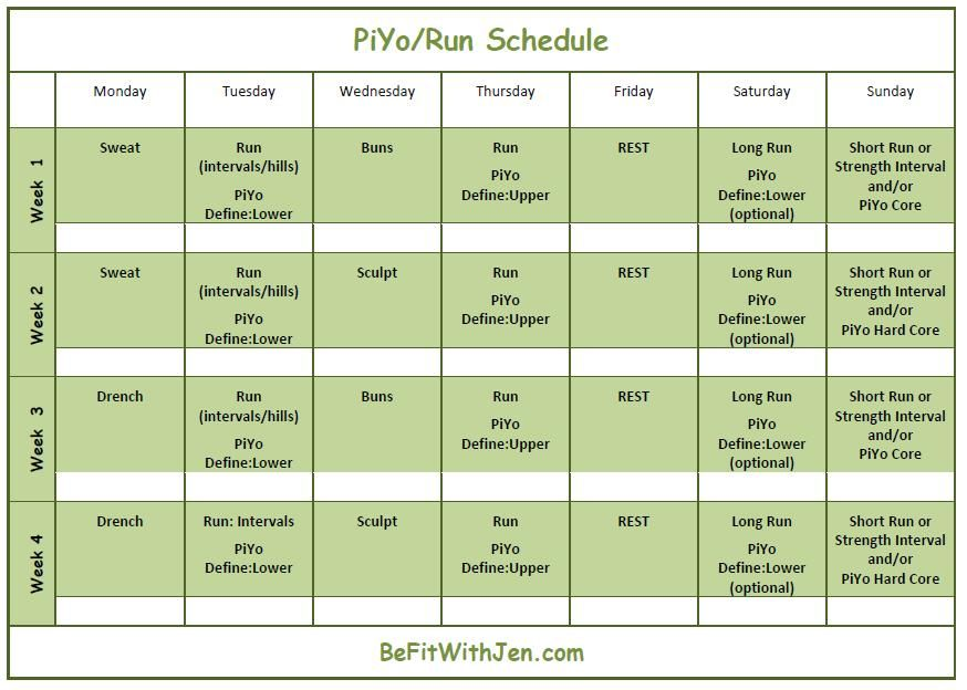Piyo Run Calendar   Week Part   Piyo    Running