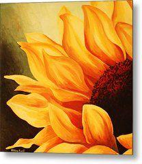 Cropped Sunflower Metal Print by Tiffany Budd