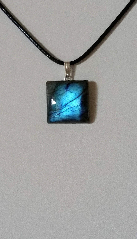 24dcd28a462 Pendentif labradorite Argent 925 - Labradorite bleu - Collier labradorite -  pendant labradorite - Protection - Homme  Femme  Enfant - AAA + de la  boutique ...