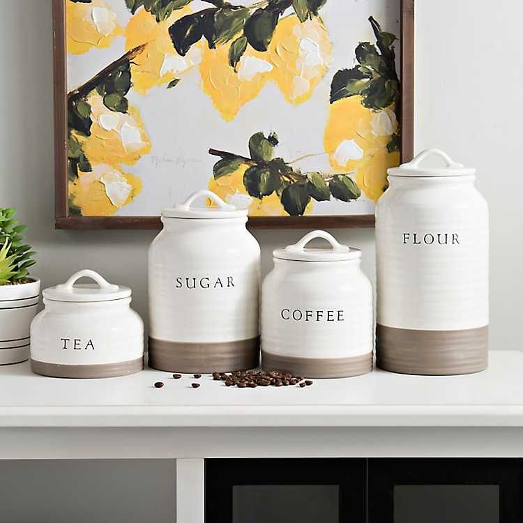 Two Tone Modern Farmhouse Canisters Set Of 4 Farmhouse Canisters Farmhouse Kitchen Decor Farmhouse Kitchen Canisters