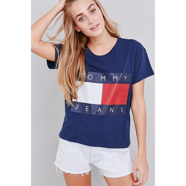 UO Exclusive Tommy Jeans Cropped Square Navy T-shirt ($58) ❤ liked on