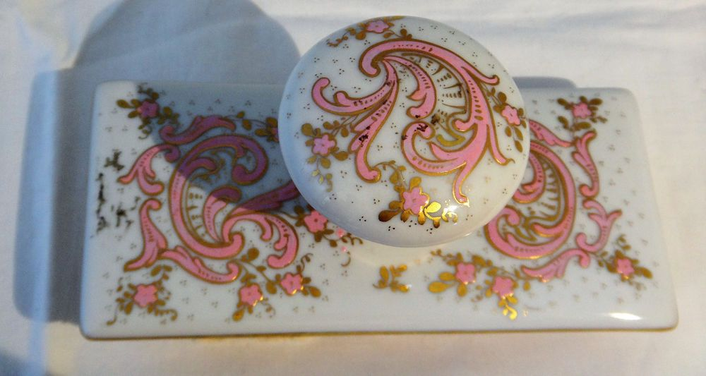 Art Nouveau Pink and Gold Hand Painted Porcelain Ink Blotter, Made in France
