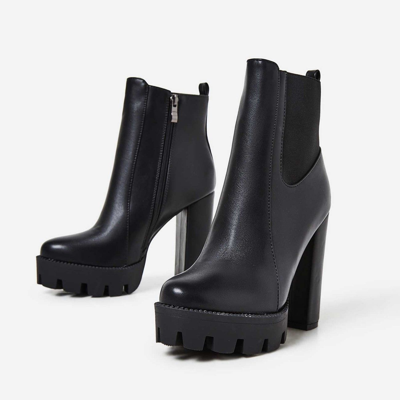 88b0b92ee3a Atlas Platform Biker Boot In Black Faux Leather in 2019 | Style ...