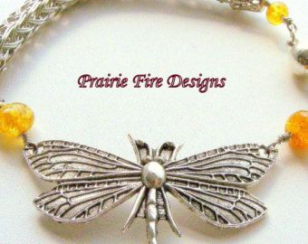 Silver Viking Knit and Beaded Bracelet with Large Dragonfly and Baltic Amber Beads