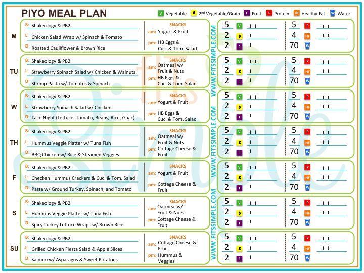piyo eating plan pdf - Google Search weight loss Pinterest - exercise plan template