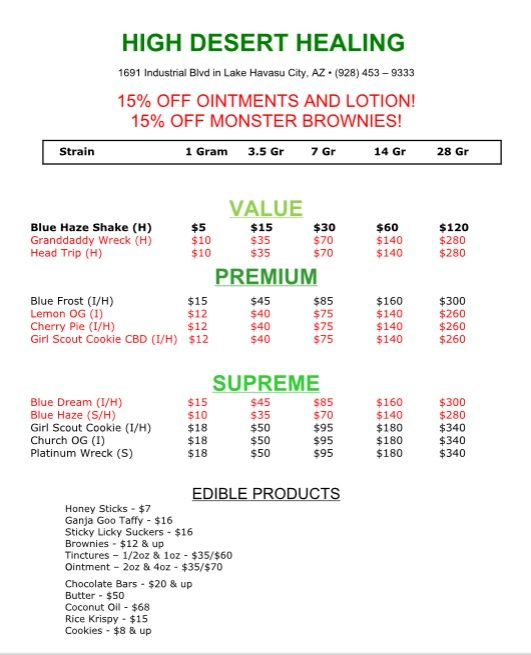 """Here's our updated menu for the week of Sept. 14, 2015 - we've got Platinum Wreck back in stock! An uplifting sativa, """"The Wreck"""" lends great creative energy & is good for daytime use!  We've still got our Monster Brownies on sale for 15% off and it's the perfect time to try one of our lotions or skin cremes - they're also 15% off until Saturday!"""