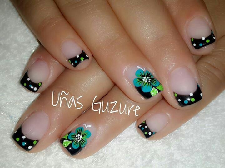 Negro y verde | uñas decoradas | Nails, Autumn nails y ...