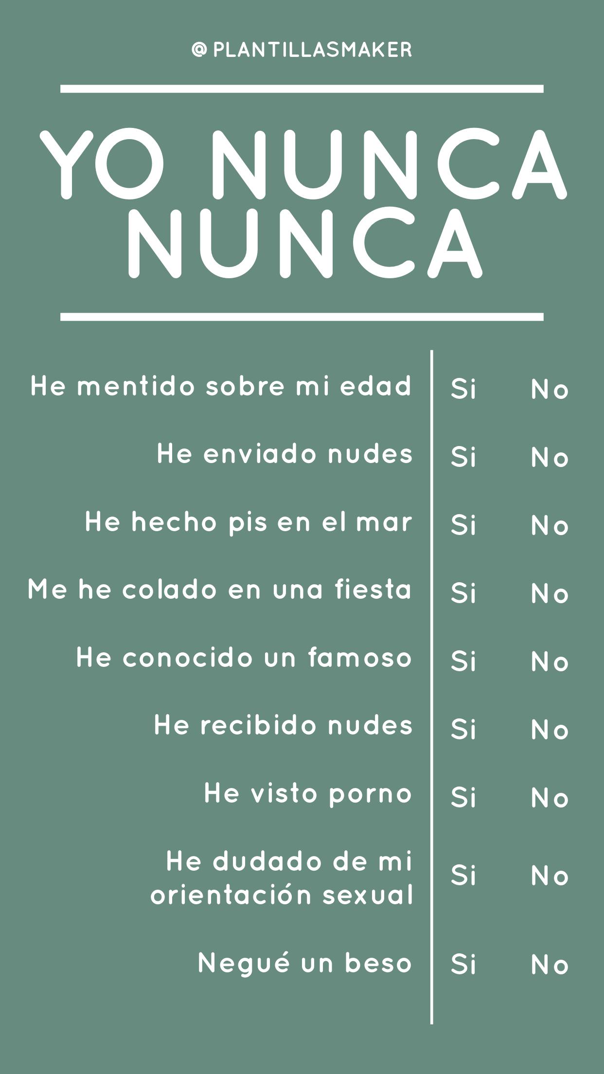 Yo Nunca Nunca 3 Cuestionario Para Amigos Retos Para Instagram Verdad Y Reto From old portuguese nunca, from latin numquam (never). yo nunca nunca 3 cuestionario para