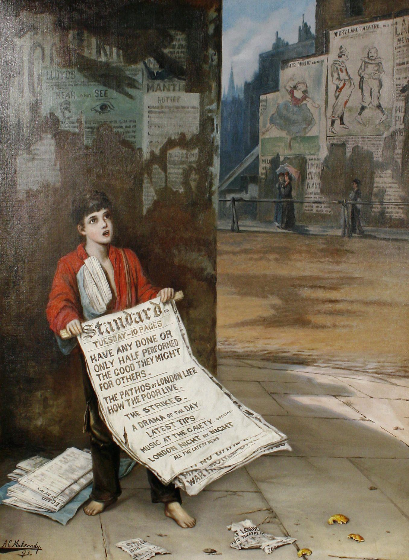Augustus Edwin Mulready A London Newsboy 1893