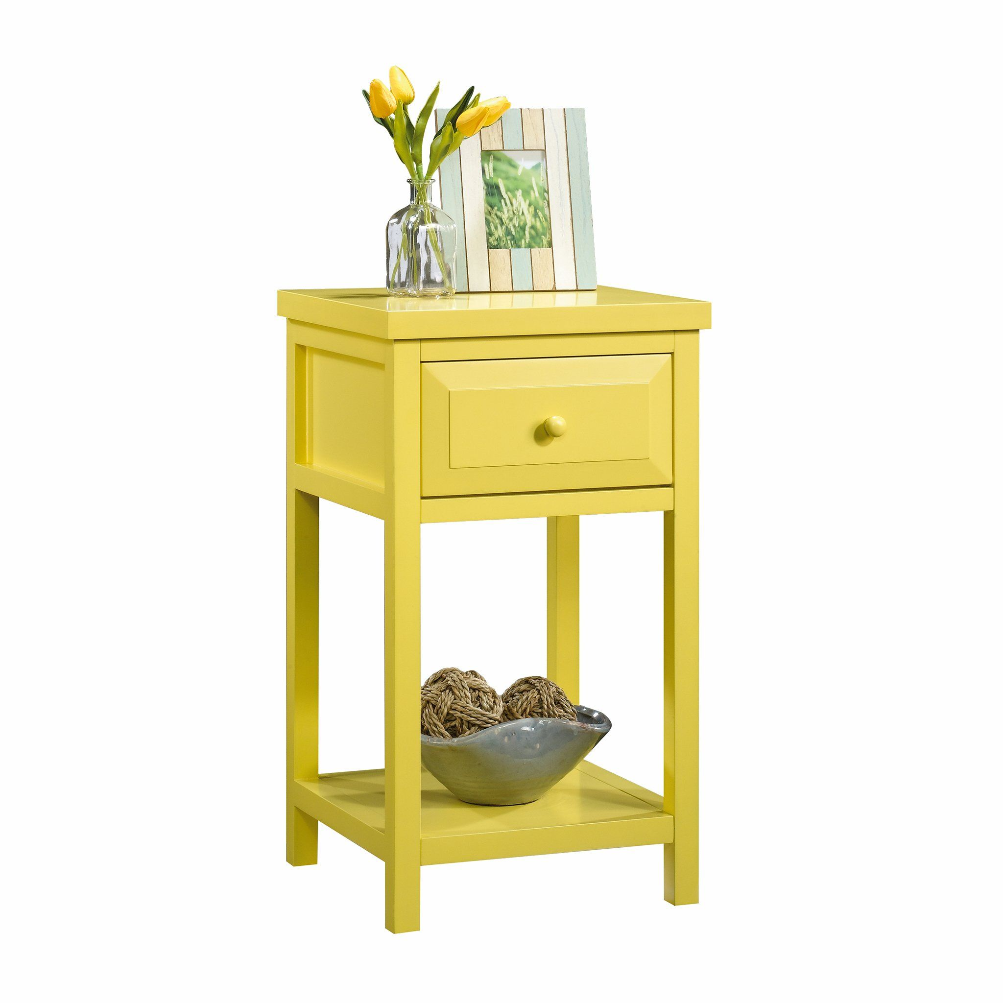 Sauder Cottage Sunshine Yellow Finish In 2020 Side Table Metal Accent Table Cottage Table