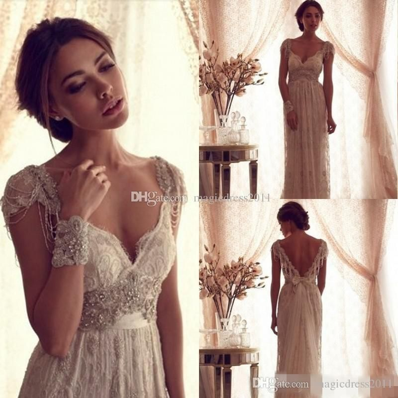 2016 Sexy Anna Campbell Backless Wedding Ball Gowns Cheap Beach Wedding Dresses Beads Capped Sleeves Vintage Lace Greek Bridal Gowns Lace Wedding Dresses Vintage Bridal Gowns Beach Wedding Dress Online with 144.0/Piece on Magicdress2011's Store | DHgate.com