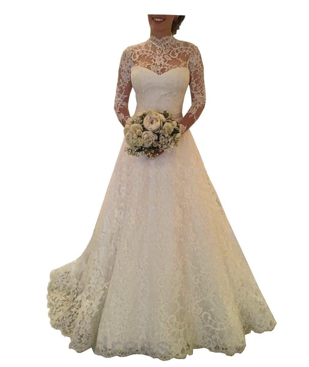 Dbbeautyshop womens lace long sleeve wedding dress backless beach