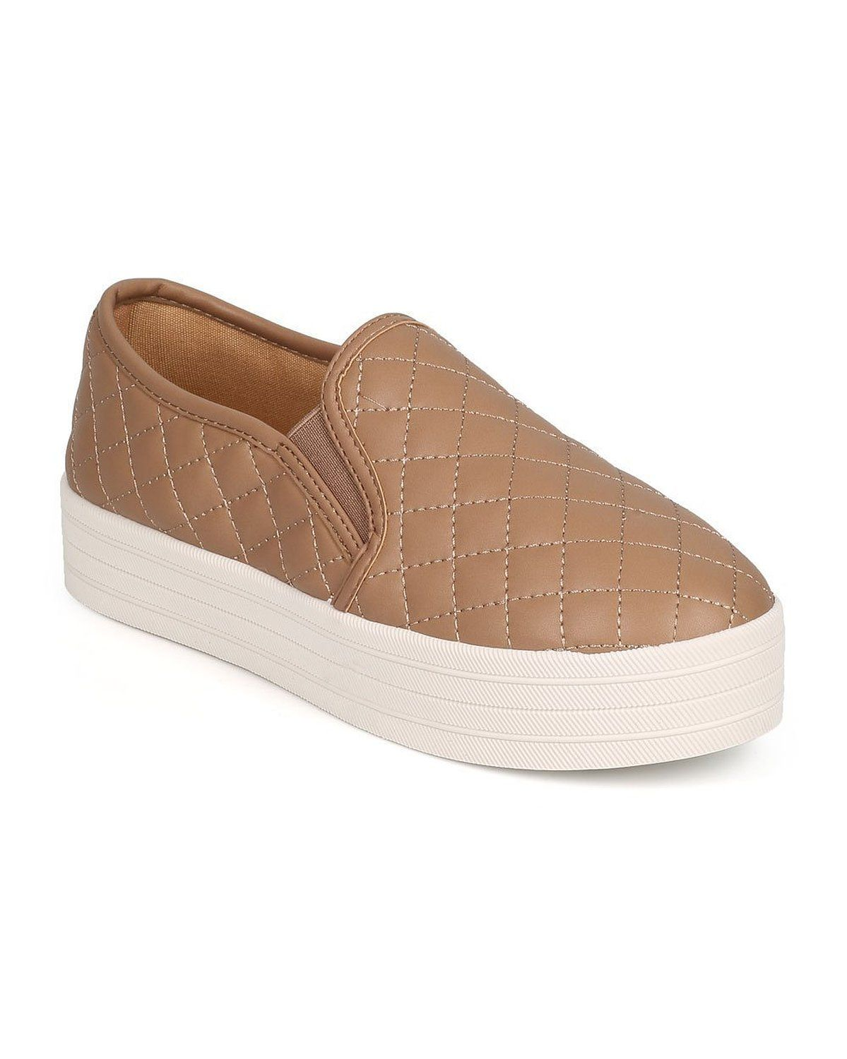 2a5fcb2a88a725 Breckelles DH58 Women Leatherette Quilted Round Toe Platform Slip On Sneaker  - Natural     You can get additional details at the image link.