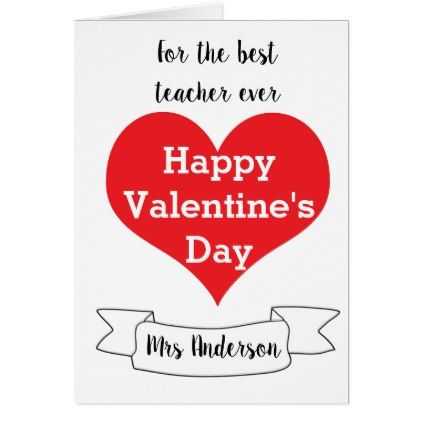 Personalized Teacher Valentine Card Valentines Day Gifts Love