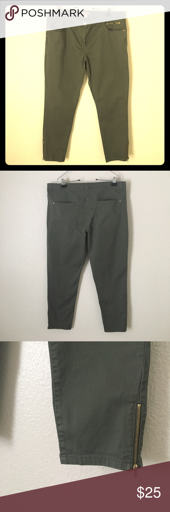 H&M + Ankle Jeans olive green Very nice dark army green ankle jeans with gold zippers. Worn only once, very good condition. H&M Jeans Ankle & Cropped