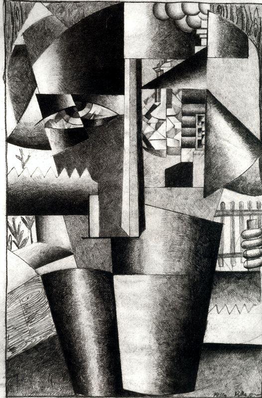 Kazimir Malevich   /   Cubism. Portrait of a Builder