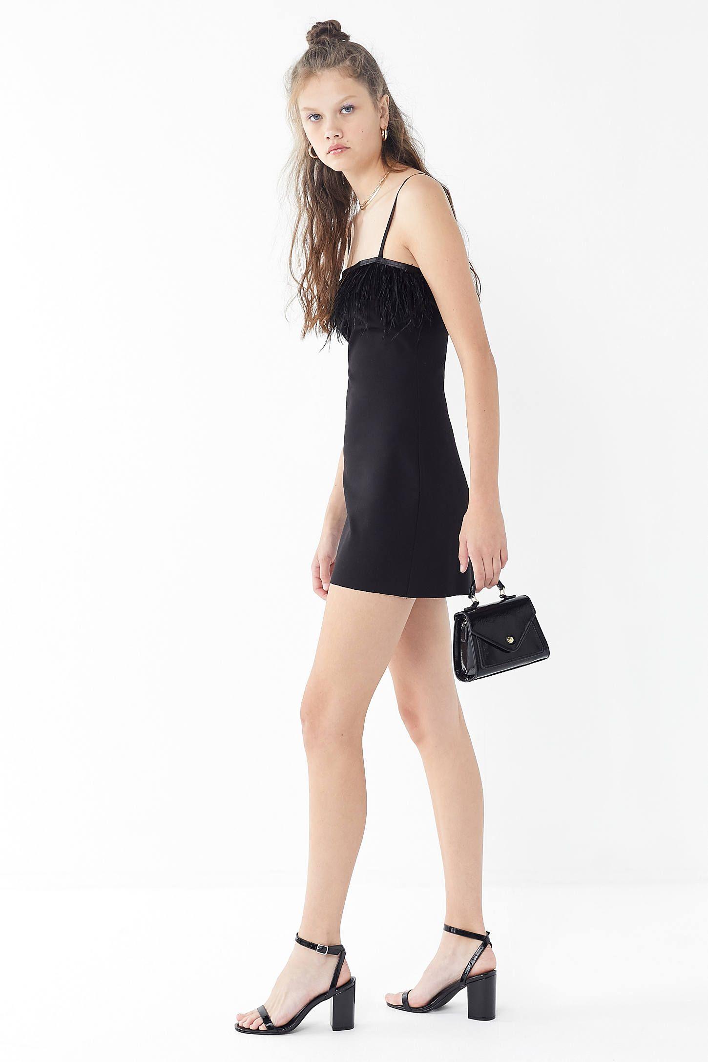 d6c5cc967d60 UO Clarissa Feather Trim Mini Dress