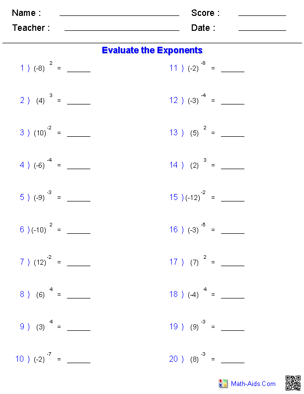 maths worksheets for high school on exponents Google Search – Simple Math Worksheets Printable