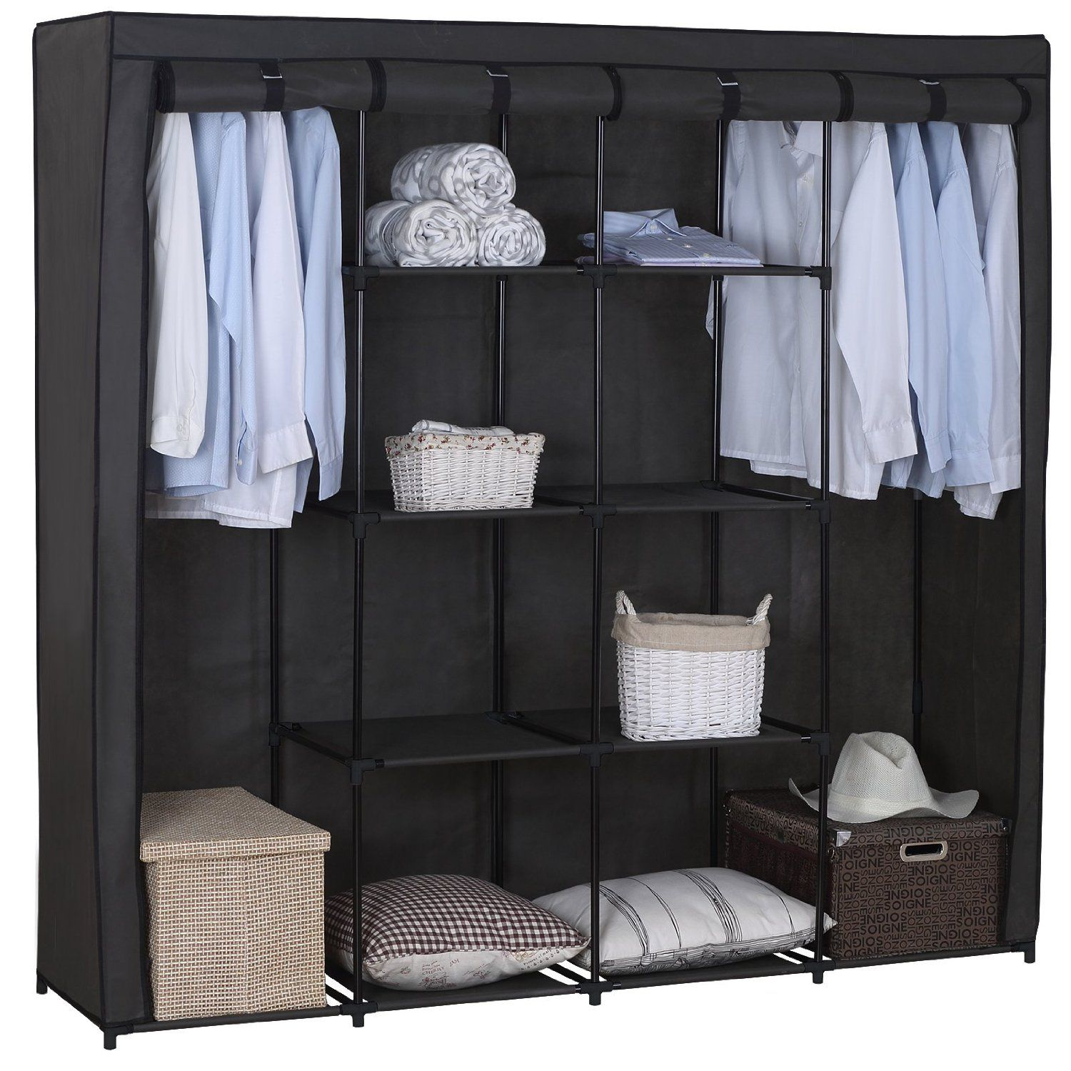 ss5024 woltu stoff textil kleiderschrank stoffkleiderschrank campingschrank garderobenschrank. Black Bedroom Furniture Sets. Home Design Ideas