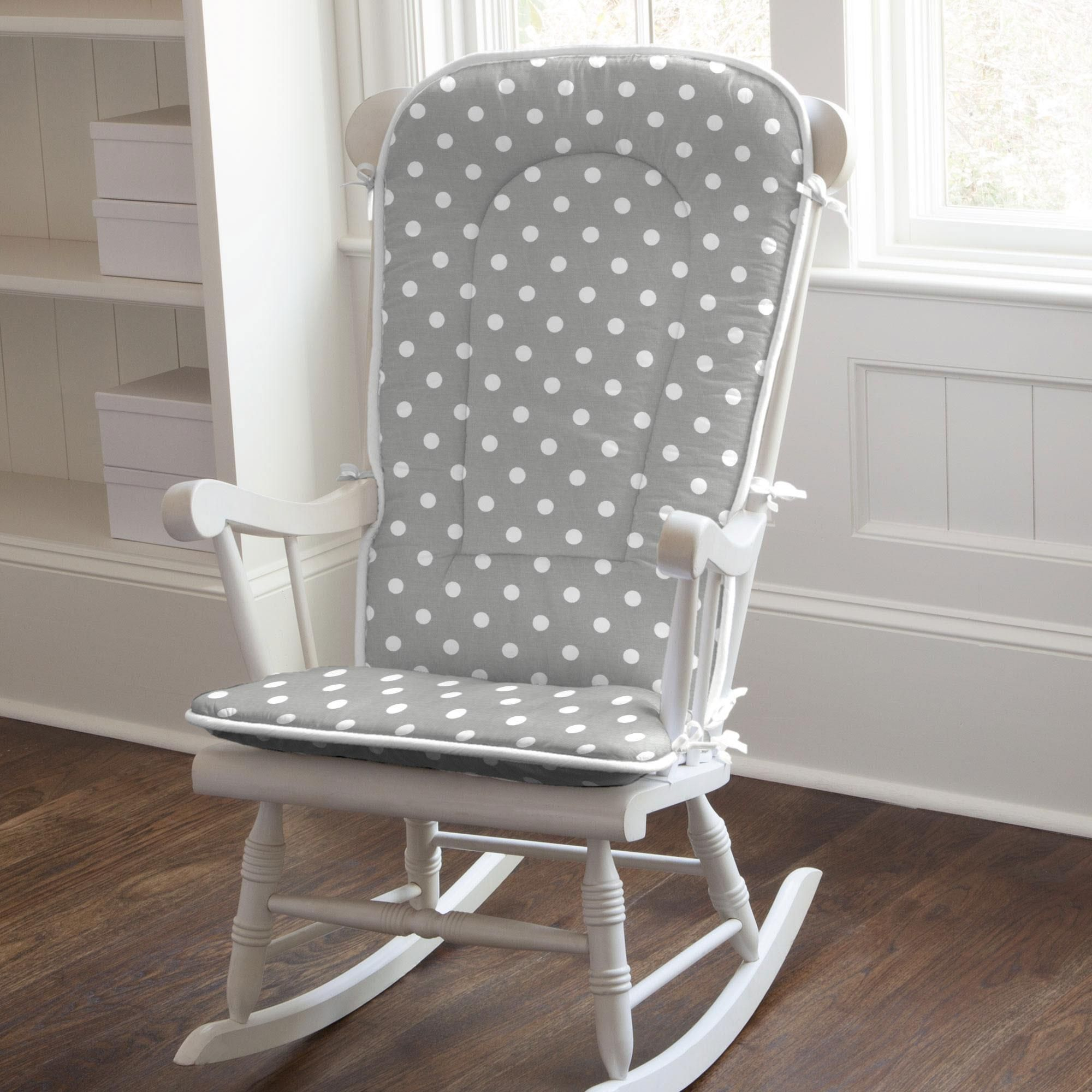 Gray and White Dots and Stripes Rocking Chair Pad White