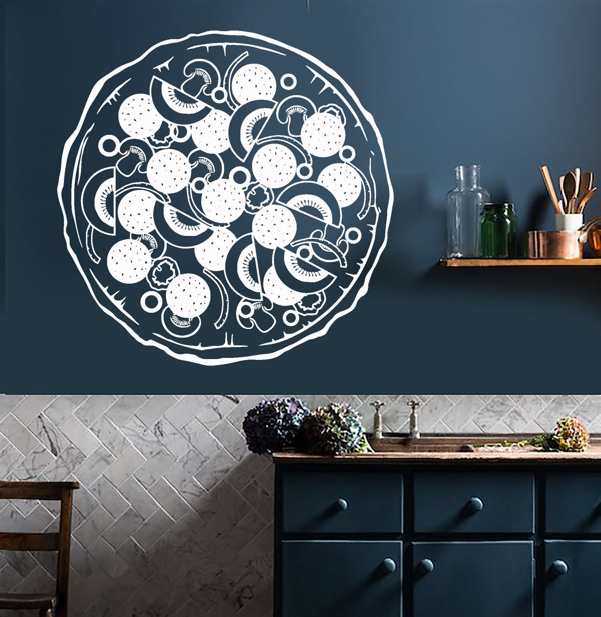 vinyl wall decal italian food pizza kitchen restaurant on wall stickers for kitchen id=61973