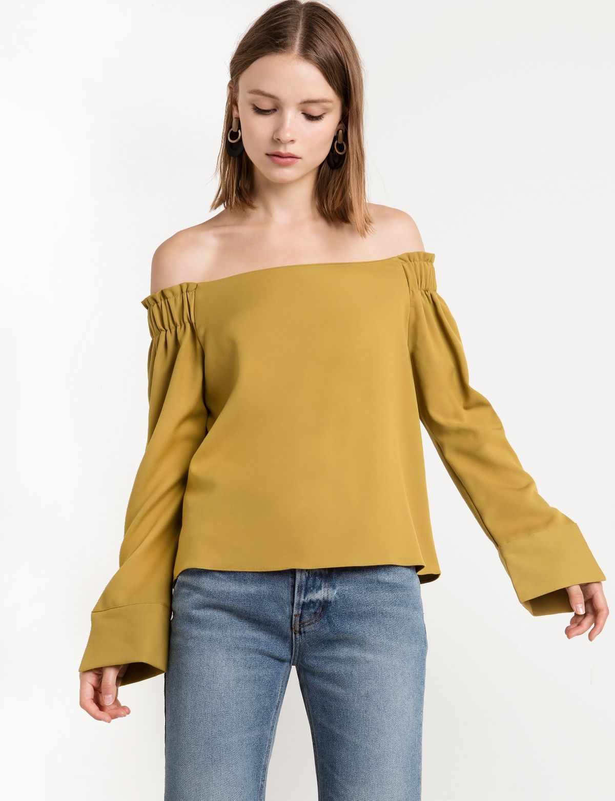 7f41d240af6504 Mustard Off the Shoulder Top