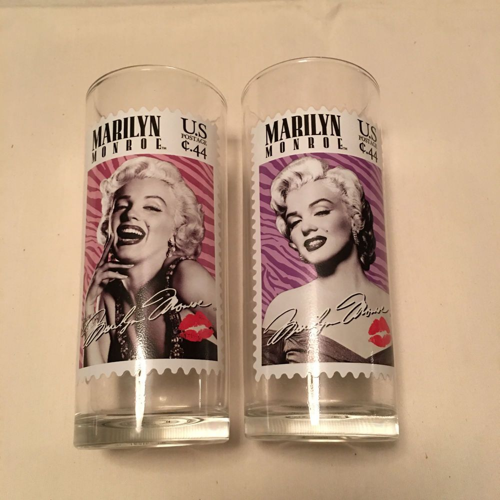 Marilyn Monroe Pair of Tall Glass Postage Stamp Tumblers