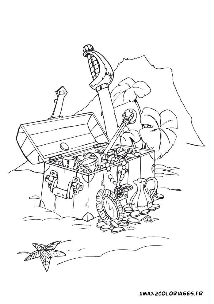 Coloriage coffre tr sor des pirates dessin coloriage - Dessin de coffre de pirate ...