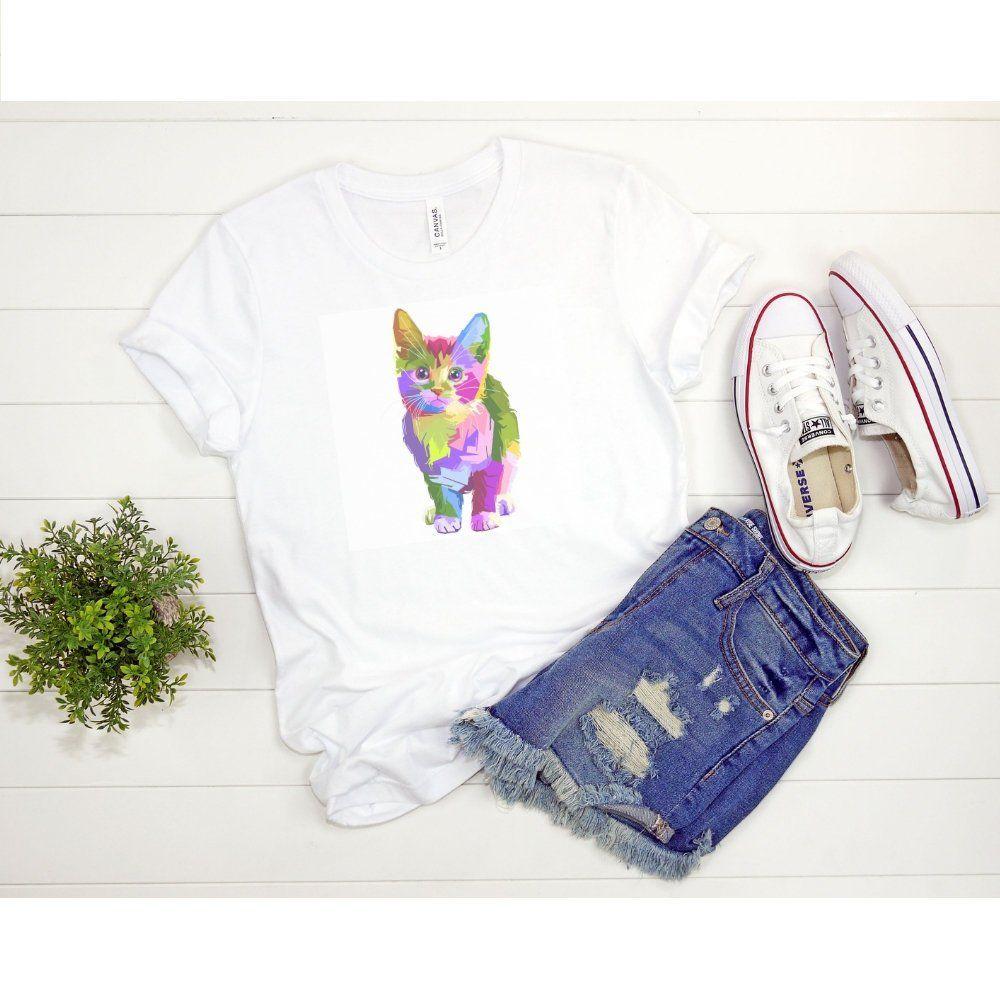 Animal Cat Shirt For Her Watercolor Print Shirt Animal