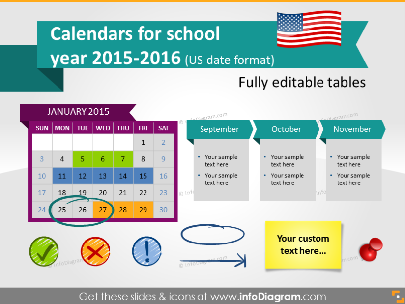 School Calendars 2015 2016 graphics PPT tables and icons US – Sample Power Point Calendar