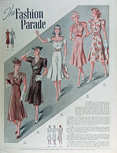 Fashion Page, 30's Full Page Color Illustration, print art, (the fashion parade) Original Vintage 1938 the Farmer's Wife Magazine Art