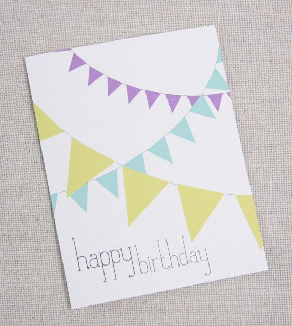 Birthday Card Colorful Bunting By Acbcdesign On Etsy 500 Do