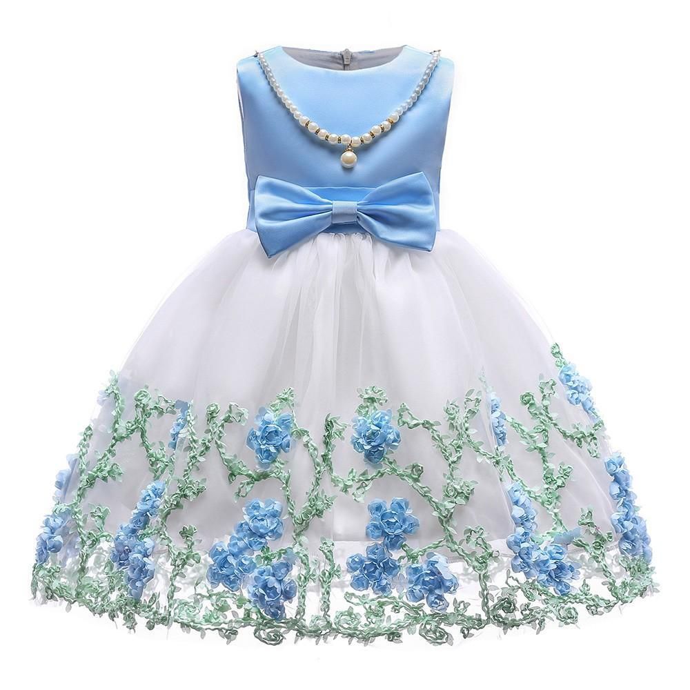 Kobay Baby Girls Princess Dress Sleeveless Lace Tulle Flower Bowknot Sundresses