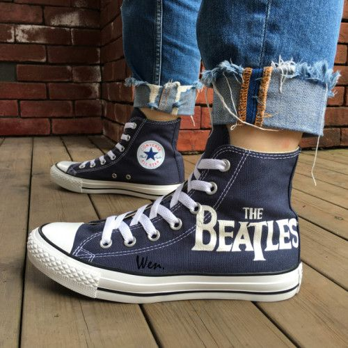 641e278066224 Converse Shoes The Beatles Abbey Road Hand Painted Canvas Sneaker in ...