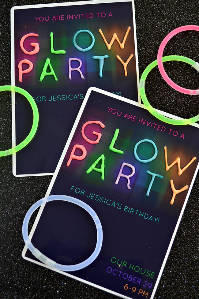 Glow In The Dark Party Invitations Parties Glow Party Party