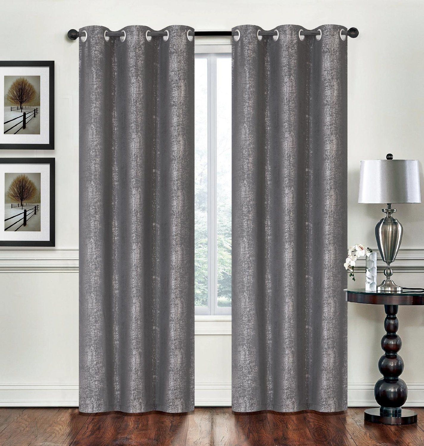 Amazon com clever home city modern metallic 95 inch curtains drapery panels window treatments with silver grommets kitchen dining