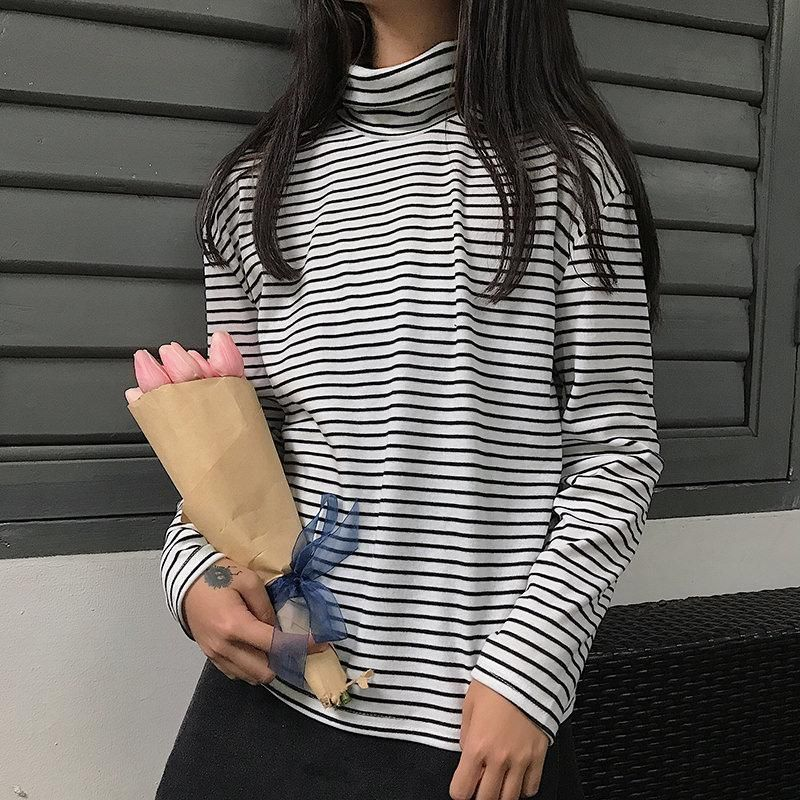 itGirl Shop STRIPES BLACK WHITE LONG SLEEVE FRENCH TURTLE NECK SHIRT Aesthetic  Apparel a838d4a3f