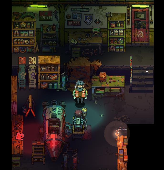 "pixpilgames: "" The Garage scene test. ( pixel art + deferred lighting ) """