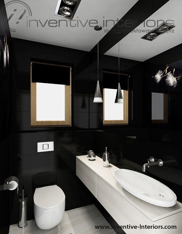Projekt Wc Inventive Interiors Czarna Mała łazienka Z