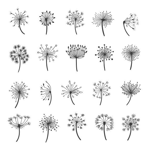 Dandelion Silhouette Icons Dandelion Drawing How To Draw Hands Dandelion