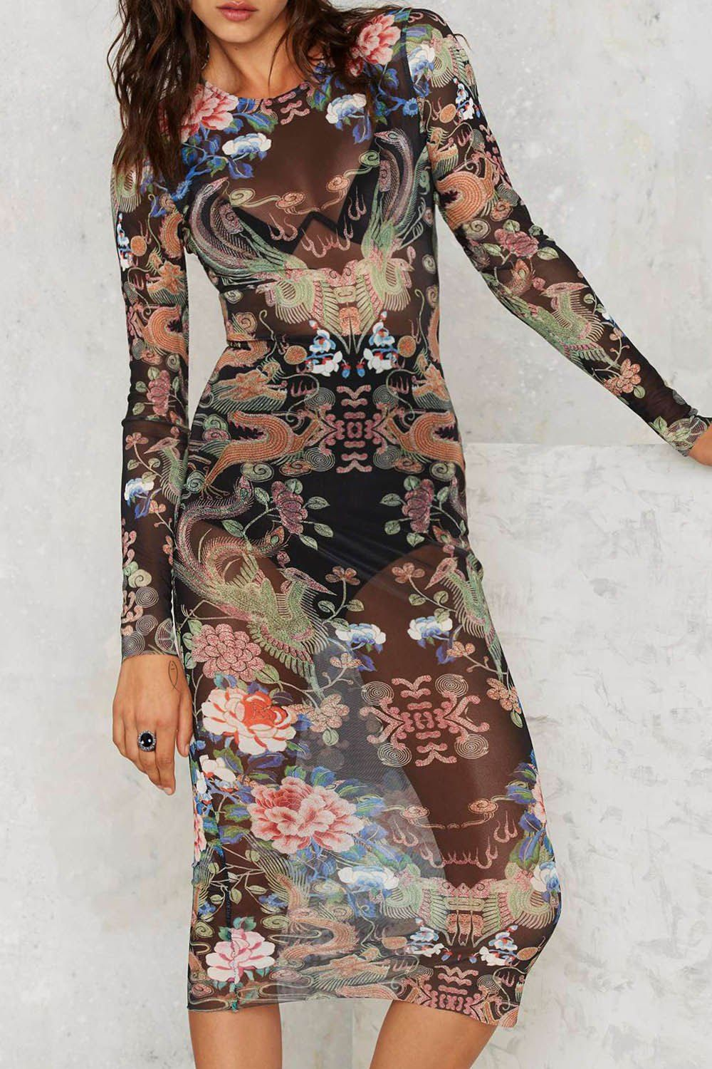 Round neck long sleeve floral seethrough dress black print dresses