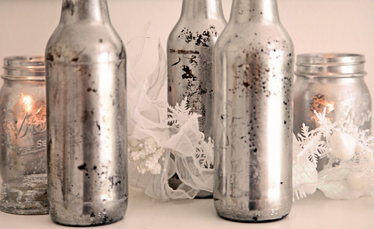 Shabbyfufu Mercury Glass Mason Jar For Candlestutorial The Big - Jarrones-plateados