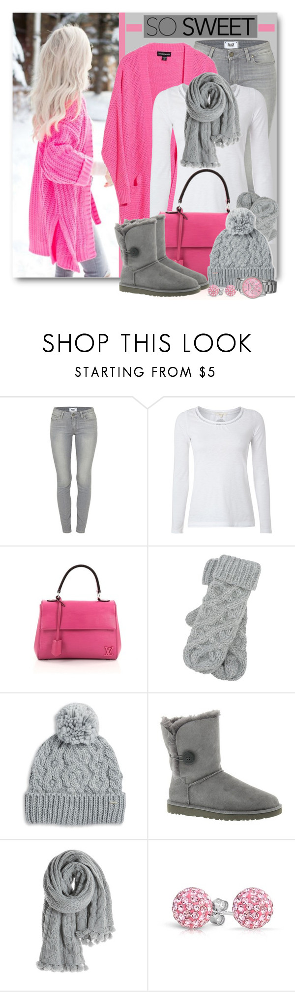"""Hot Pink Winter"" by brendariley-1 ❤ liked on Polyvore featuring Paige Denim, White Stuff, Louis Vuitton, M&Co, Rella, UGG Australia, Calypso St. Barth, Bling Jewelry and Akribos XXIV"
